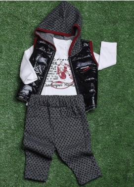 Sanaulla Exclusive Range Cotton Fancy Boys 3 Piece Suit - 009K715 Black