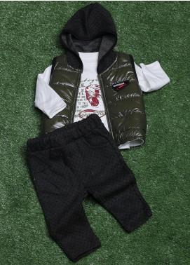 Sanaulla Exclusive Range Cotton Fancy 3 Piece Suit for Boys - 009K715 Green