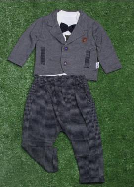 Sanaulla Exclusive Range Cotton Fancy Boys 3 Piece Suit - 050K1155 Grey