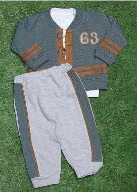 Sanaulla Exclusive Range Cotton Fancy 3 Piece Suit for Boys - 075K261 Green