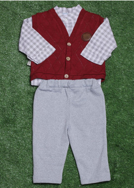 Sanaulla Exclusive Range Cotton Fancy Boys 3 Piece Suit - 075K397 Maroon