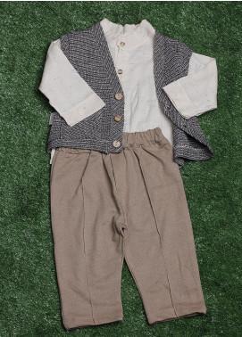 Sanaulla Exclusive Range Cotton Fancy 3 Piece Suit for Boys - 075K398 Grey