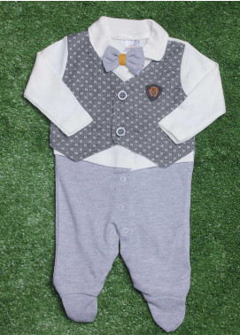 Sanaulla Exclusive Range Cotton Fancy Romper for Boys -  2010 L-Grey