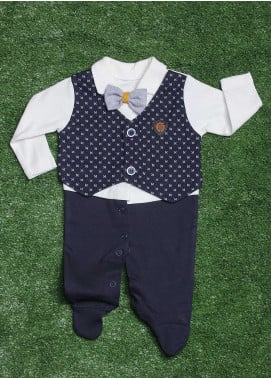 Sanaulla Exclusive Range Cotton Fancy Boys Romper -  2010 N-Blue