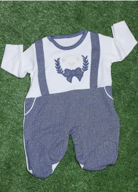 Sanaulla Exclusive Range Cotton Fancy Romper for Boys -  2116 Blue