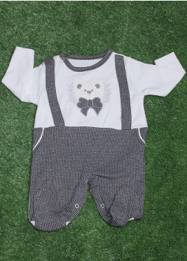 Sanaulla Exclusive Range Cotton Fancy Boys Romper -  2116 Grey