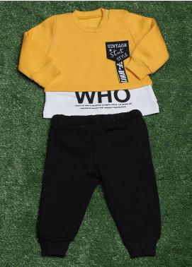 Sanaulla Exclusive Range Cotton Fancy Boys 3 Piece Suit - 392K3109 Yellow