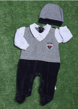 Sanaulla Exclusive Range Cotton Fancy Romper for Boys -  491K8045 Grey