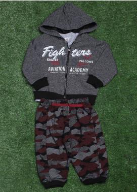 Sanaulla Exclusive Range Cotton Fancy 3 Piece Suit for Boys - 853 Grey