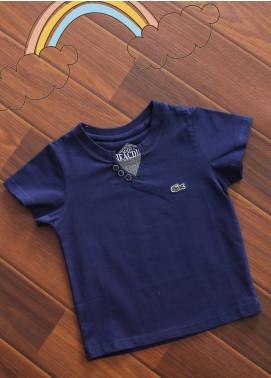 Sanaulla Exclusive Range Cotton V-Neck T-Shirts for Boys -  3015 Blue