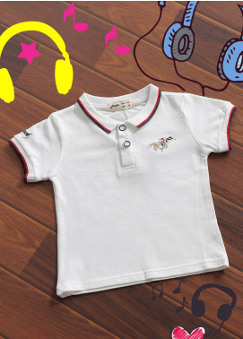 Sanaulla Exclusive Range Cotton Printed T-Shirts for Boys -  B 15 White