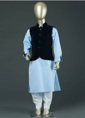 Sanaulla Exclusive Range Velvet Plain Textured Waistcoat for Boys -  SA19BW C-622 Blue
