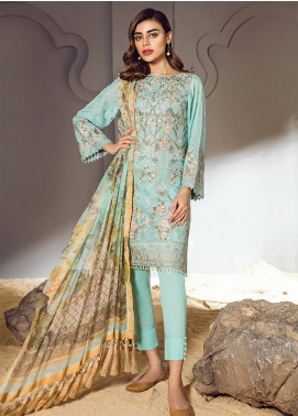 Baroque Embroidered Lawn Unstitched 3 Piece Suit BQ18S 08 - Swiss Lawn Collection