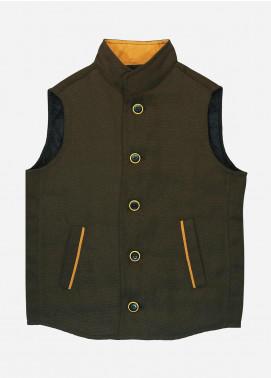 Brumano Polyester Casual Boys Jackets - BM20JJ Cedar Brown Quilted Casual Sleeveless Vest - Junior