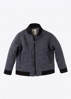Brumano Polyester Casual Boys Jackets -  BM20JJ Charcoal Fleece Bomber Jacket-Junior