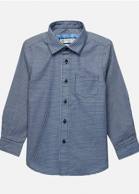 Brumano Cotton Casual Boys Shirts -  BM20JS Blue Gingham Casual Checkered Shirt-Junior