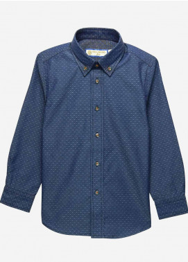 Brumano Cotton Casual Shirts for Boys -  BM20JS Blue Structured Button Down Casual Shirt-Junior