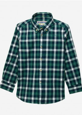 Brumano Cotton Casual Boys Shirts -  BM20JS Green & Blue Casual Check Shirt-Junior