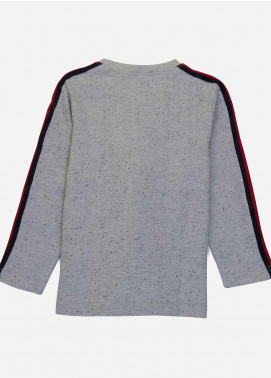 Brumano Cotton Casual Shirts for Boys -  BM20SS Grey Sweatshirt With Red Stripe Detailing - Junior