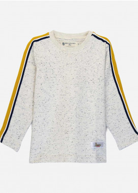 Brumano Cotton Casual Boys Shirts -  BM20SS Offwhite Sweatshirt With Yellow Stripe Detailing-Junior