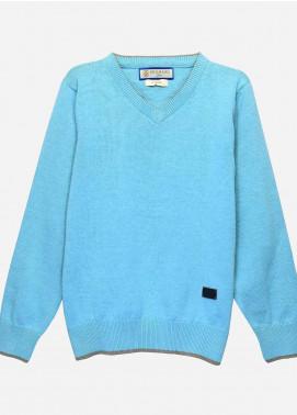 Brumano Cotton Full Sleeves Sweaters for Boys -  BM20SW Aqua Blue Casual V-Neck Sweater-Junior