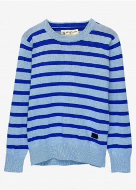 Brumano Cotton Full Sleeves Boys Sweaters -  BM20SW Blue Striped Crew Neck Sweater - Junior
