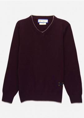 Brumano Cotton Full Sleeves Sweaters for Boys -  BM20SW Burgundy Casual V-Neck Sweater-Junior