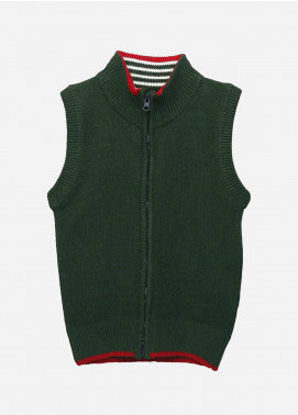 Brumano Cotton Sleevesless Zipper Boys Sweaters -  BM20SW Dark Green Sleeveless Casual Zipper-Junior