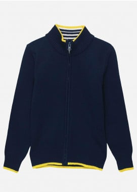 Brumano Cotton Full Sleeves Zipper Boys Sweaters -  BM20SW Navy Casual Zipper With Detailing-Junior