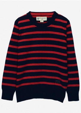 Brumano Cotton Full Sleeves  Sweaters for Boys -  BM20SW Red & Blue Striped Crew Neck Sweater - Junior