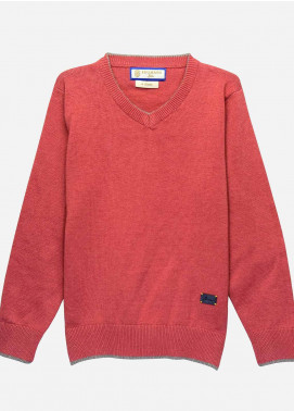 Brumano Cotton Full Sleeves  Boys Sweaters -  BM20SW Red Casual V-Neck Sweater-Junior