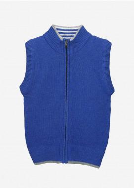 Brumano Cotton Sleevesless Zipper Sweaters for Boys -  BM20SW Royal Blue Sleeveless Casual Zipper-Junior