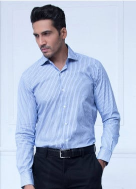 Brumano Cotton Formal Shirts for Men   Blue BRM 198