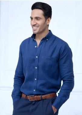 Brumano Linen Formal Shirts for Men   Navy Blue BRM 200