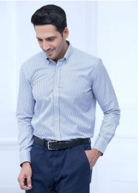 Brumano Cotton Formal Men Shirts   Blue BRM 205
