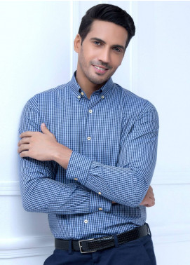 Brumano Cotton Formal Shirts for Men   Blue BRM 220