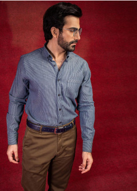 Brumano Cotton Formal Shirts for Men - Blue BRM-551-Dark