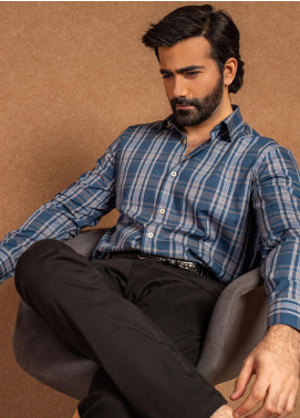 Brumano Cotton Formal Shirts for Men - Blue BRM-567