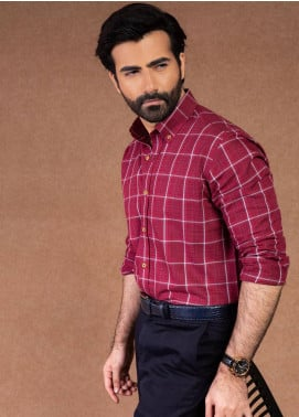 Brumano Cotton Formal Shirts for Men - Maroon BRM-569