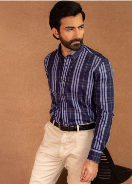 Brumano Cotton Formal Shirts for Men - Blue BRM-572