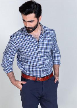Brumano Cotton Formal Men Shirts - Blue BRM-606