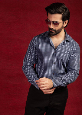 Brumano Cotton Formal Shirts for Men - Navy Blue BRM-828