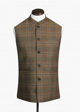 Brumano Cotton Formal Waistcoat for Men - Olive BRM-242