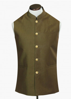 Brumano Cotton Formal Men Waistcoat - Green BRM-695