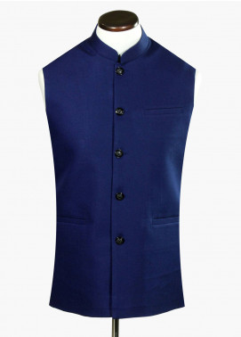 Brumano Linen Formal Waistcoat for Men - Royal Blue BRM-745