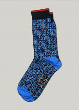 Brumano Cotton Socks BM20CSK Blue Geometric Printed Cotton Socks