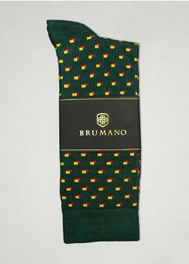 Brumano Cotton Socks BM20CSK Green Cotton Socks with Yellow Dots
