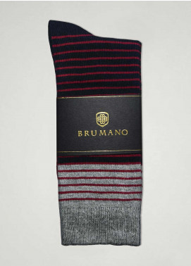 Brumano Cotton Socks BM20CSK Maroon & Black Striped Cotton Socks
