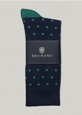 Brumano Cotton Socks BM20CSK Navy & Green Polka Dot Cotton Socks