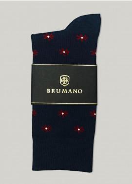 Brumano Cotton Socks BM20CSK Navy Blue & Red Cut Flower Cotton Socks